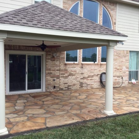 Williams Patio cover, arched windows, Door, and Flagstone Patio- Master Remodelers Tx